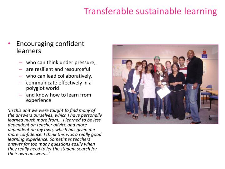Transferable sustainable learning