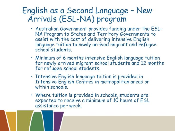 English as a Second Language – New Arrivals (ESL-NA) program