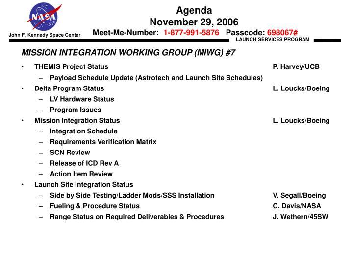 Agenda november 29 2006 meet me number 1 877 991 5876 passcode 698067