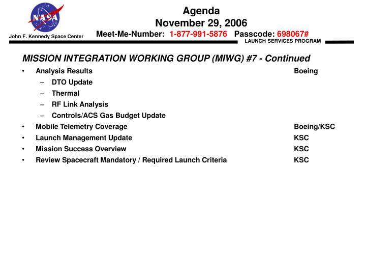 Agenda november 29 2006 meet me number 1 877 991 5876 passcode 6980671