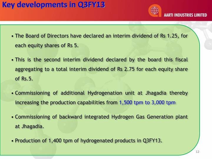Key developments in Q3FY13