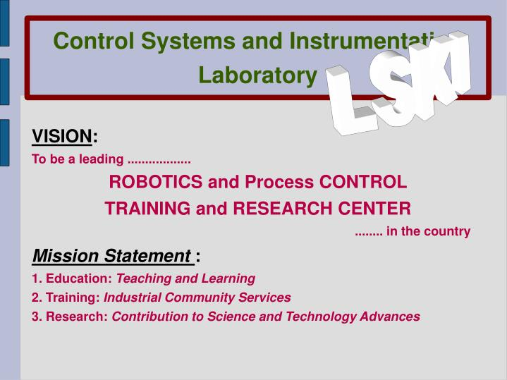 Control Systems and Instrumentation