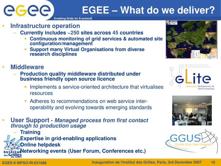 EGEE – What do we deliver?