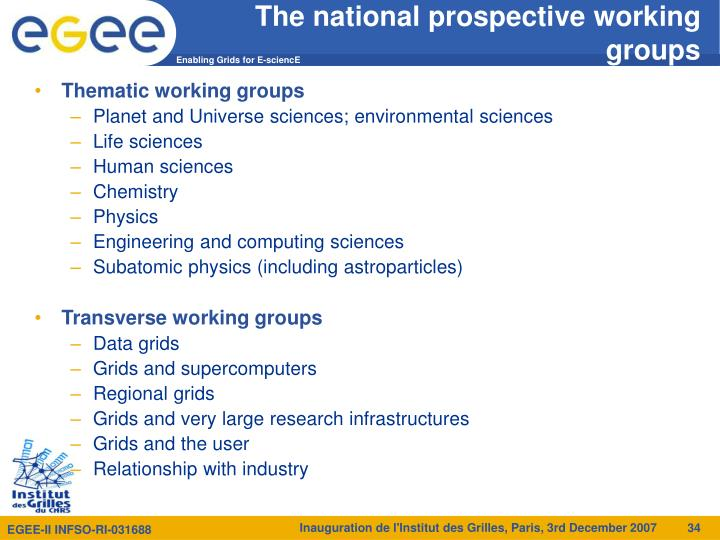 The national prospective working groups