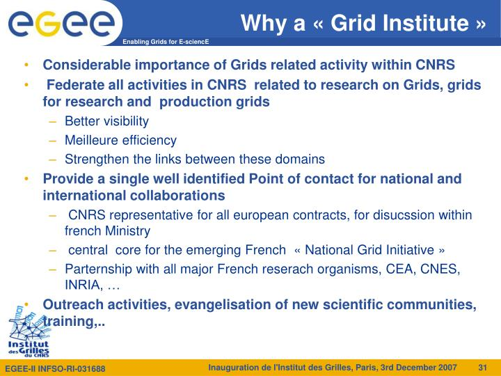 Why a «Grid Institute»