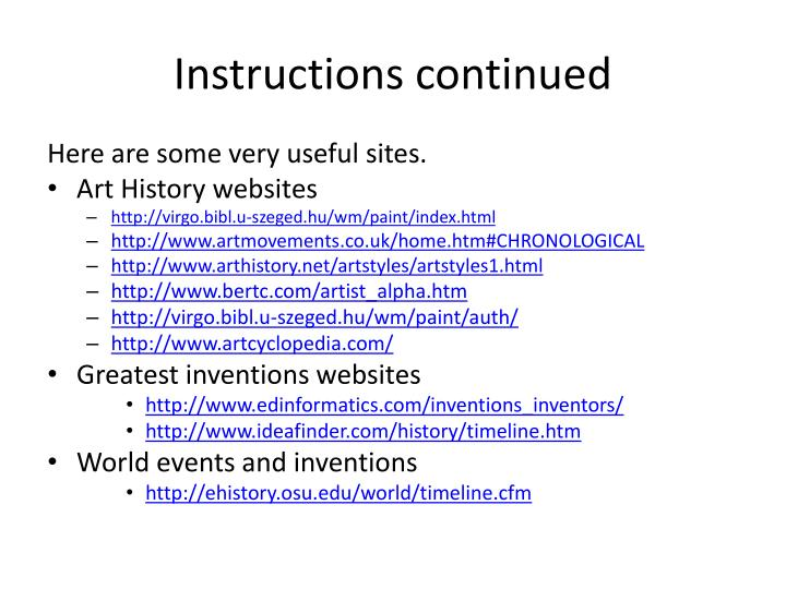 Instructions continued
