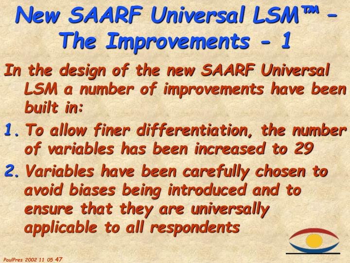 In the design of the new SAARF Universal LSM a number of improvements have been built in: