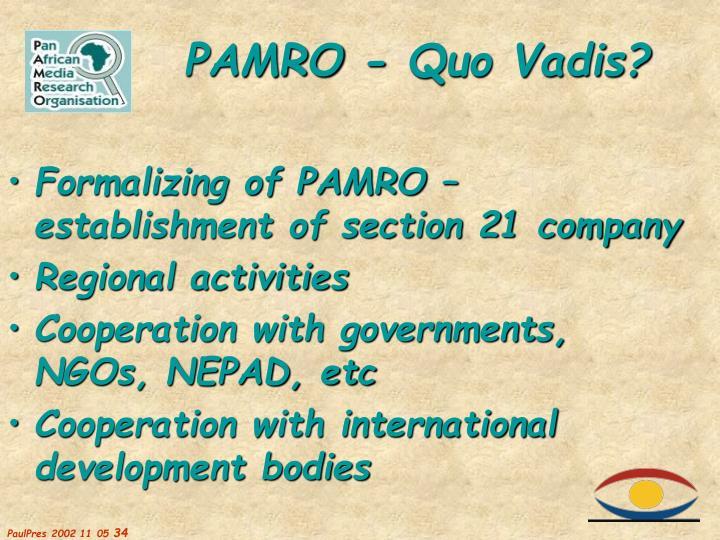 Formalizing of PAMRO – establishment of section 21 company