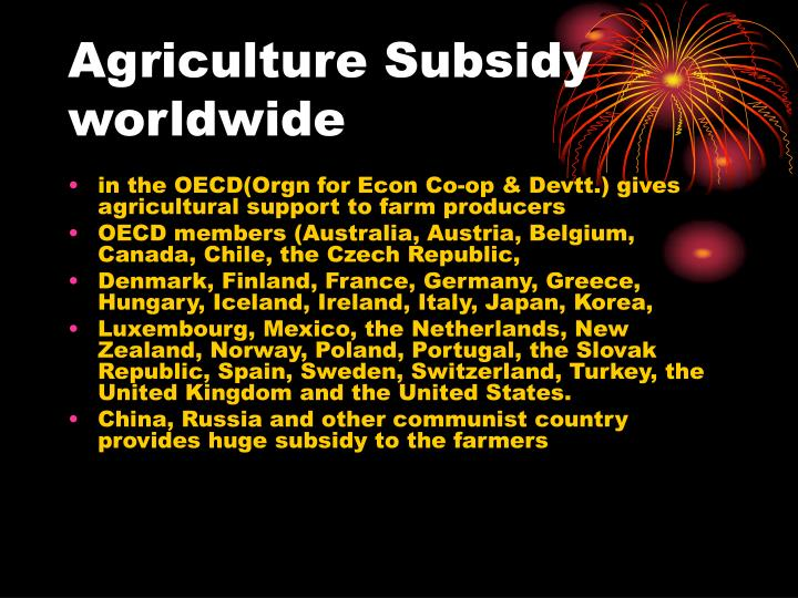 Agriculture subsidy worldwide