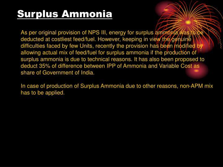 Surplus Ammonia