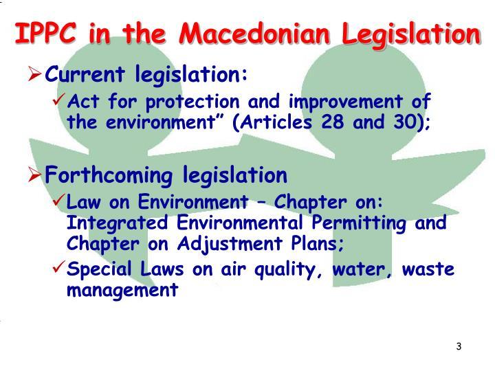 Ippc in the macedonian legislation