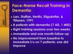face name recall training in dementia