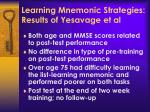 learning mnemonic strategies results of yesavage et al