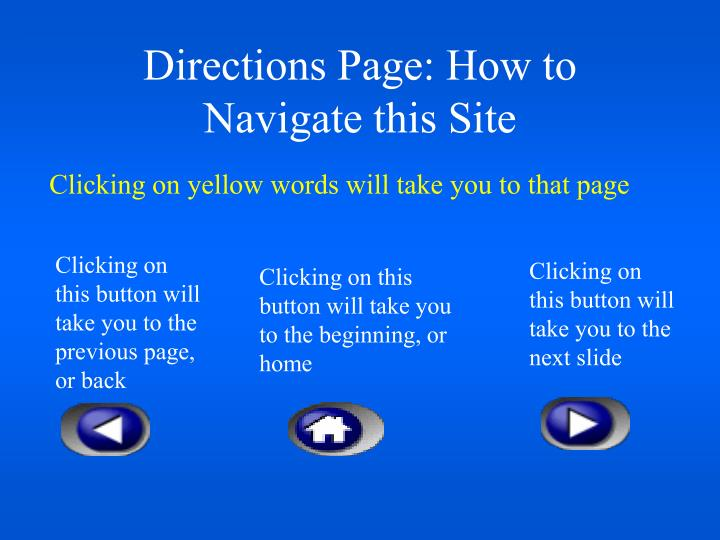 Directions page how to navigate this site