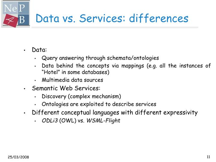 Data vs. Services: differences