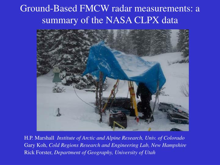 PPT - Ground-Based FMCW radar measurements: a summary of the NASA