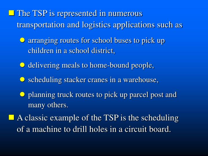 The TSP is represented in numerous   transportation and logistics applications such as