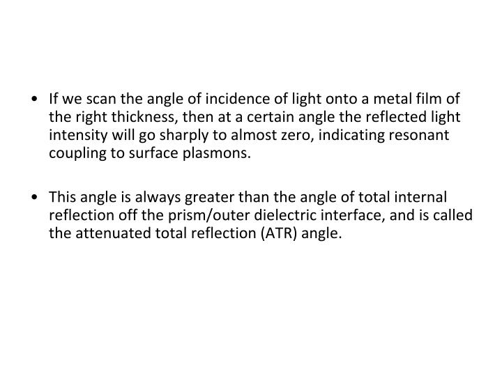 If we scan the angle of incidence of light onto a metal film of the right thickness, then at a certain angle the reflected light intensity will go sharply to almost zero, indicating resonant coupling to surface plasmons.