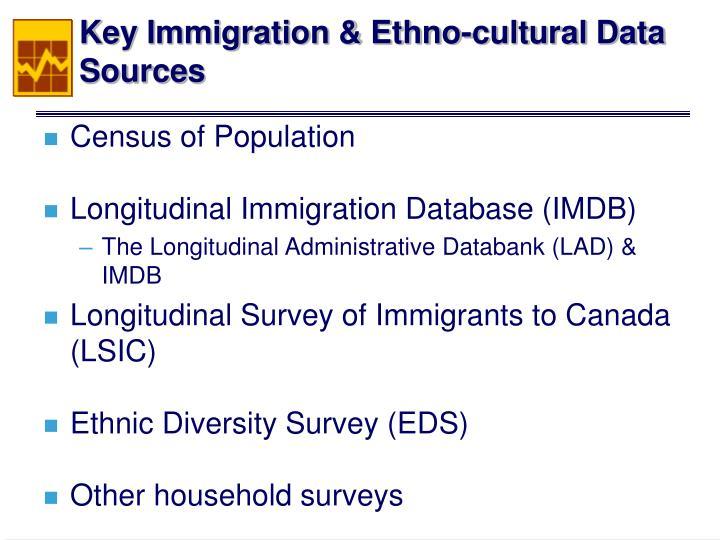 Key immigration ethno cultural data sources