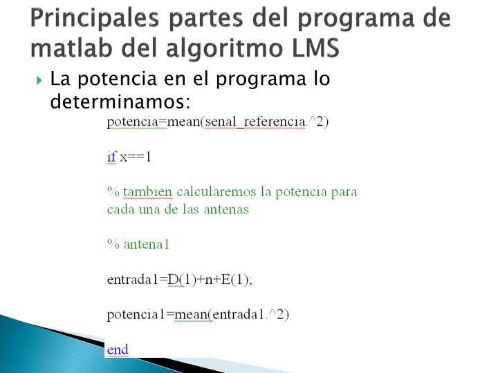 Principales partes del programa de