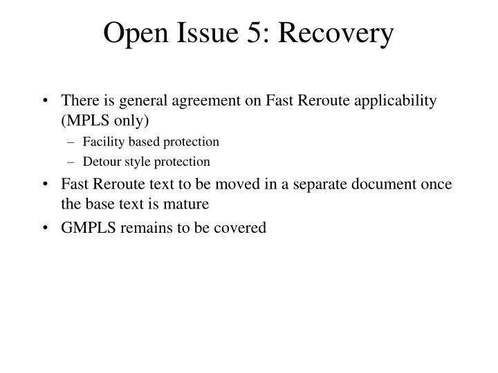 Open Issue 5: Recovery