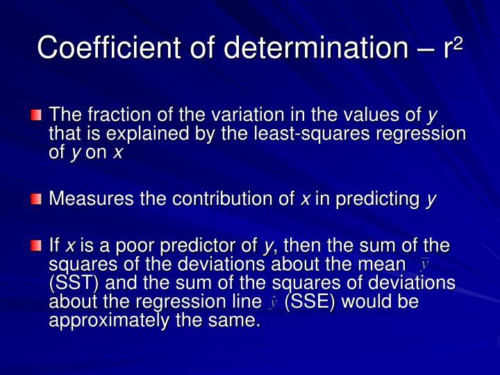 Coefficient of determination – r