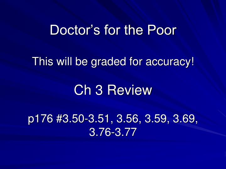Doctor's for the Poor