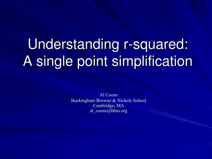 Understanding r-squared: