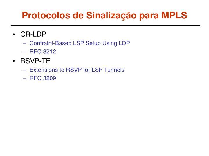 Protocolos de Sinalização para MPLS