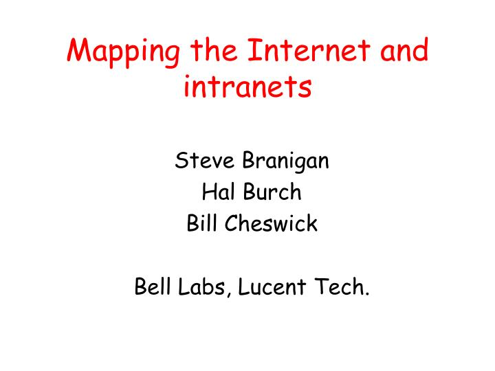 mapping the internet and intranets n.