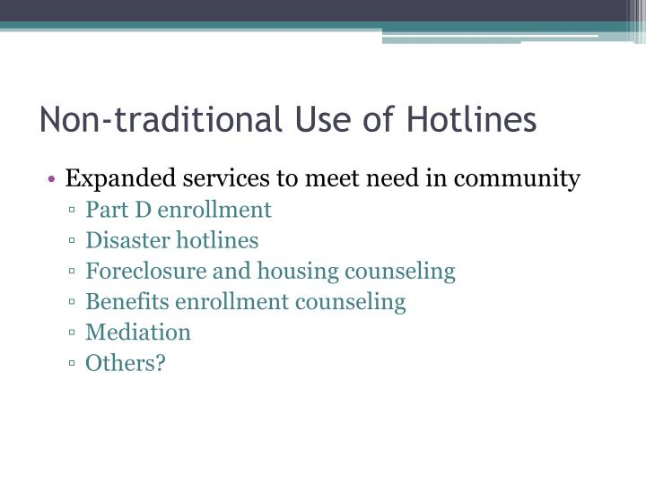 Non-traditional Use of Hotlines