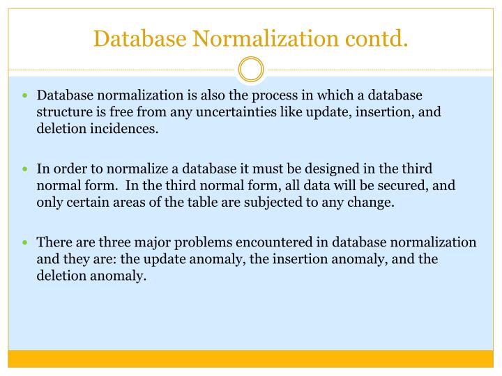 Database Normalization contd.