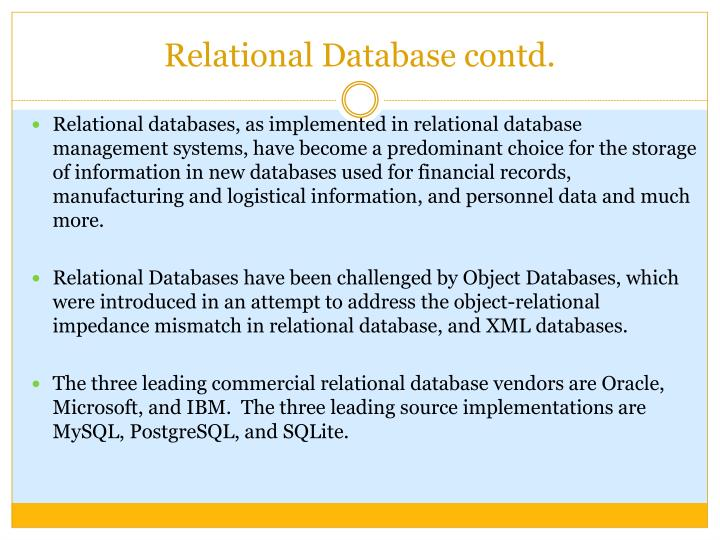 Relational database contd