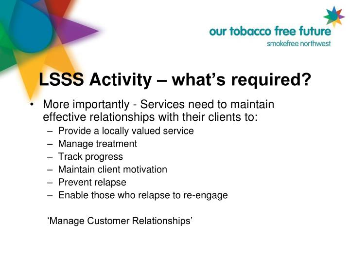 LSSS Activity – what's required?