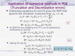 application of numerical methods in pde truncation and discretization errors
