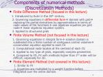 components of numerical methods discretization methods