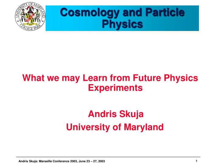 cosmology and particle physics n.