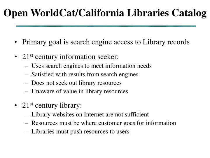 Open WorldCat/California Libraries Catalog