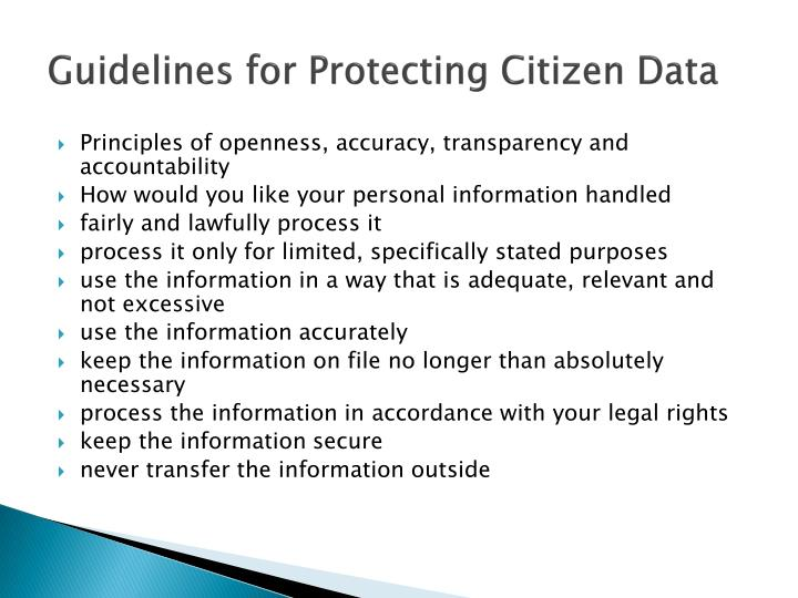 Guidelines for Protecting Citizen Data