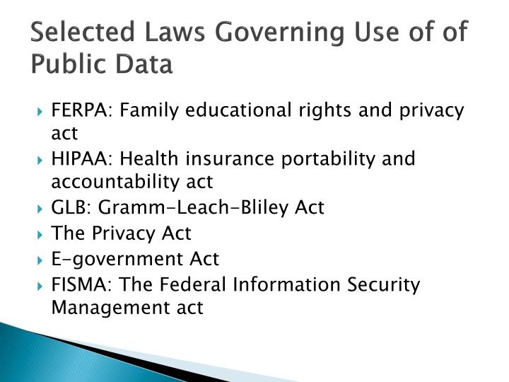 Selected Laws Governing Use of of Public Data