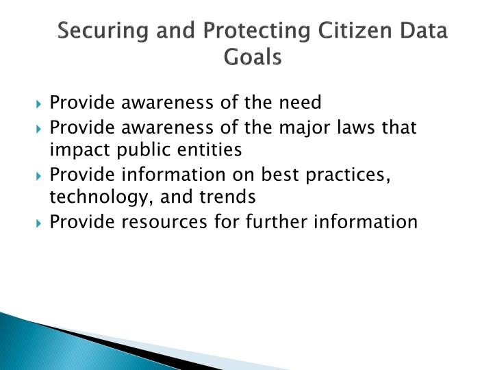 Securing and Protecting Citizen Data