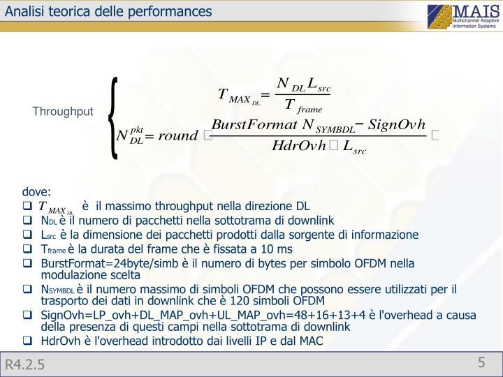 Analisi teorica delle performances