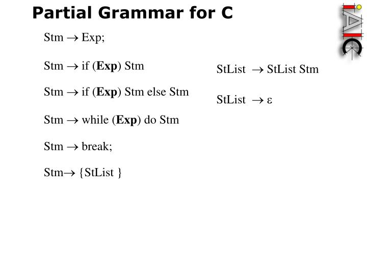 Partial Grammar for C