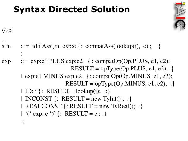 Syntax Directed Solution