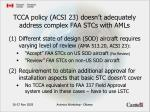 tcca policy acsi 23 doesn t adequately address complex faa stcs with amls