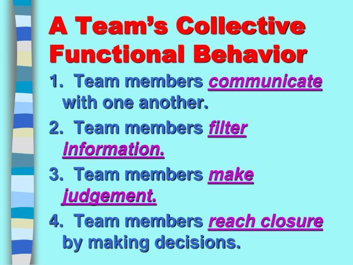 A Team's Collective Functional Behavior