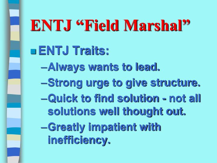 "ENTJ ""Field Marshal"""