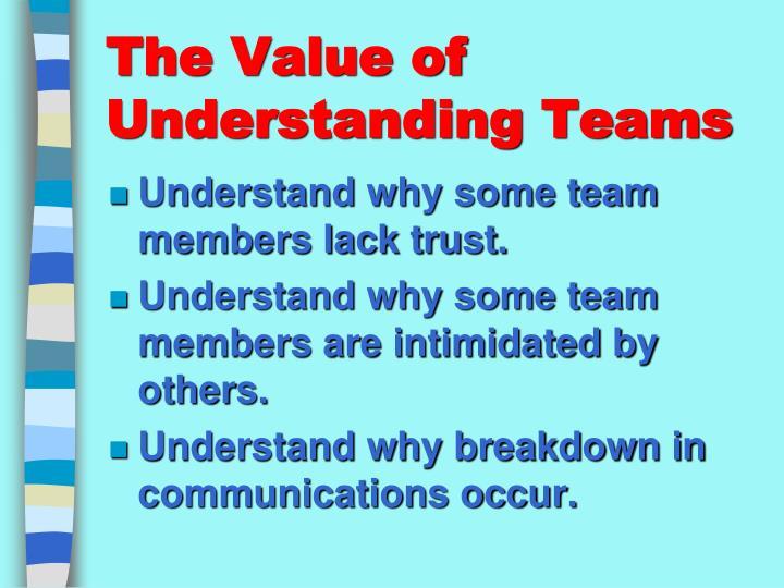 The value of understanding teams