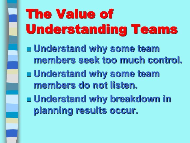 The value of understanding teams1