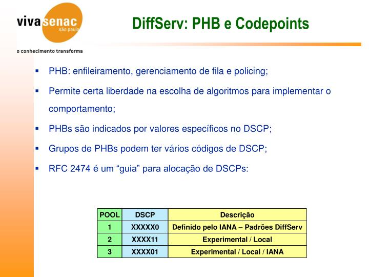 DiffServ: PHB e Codepoints